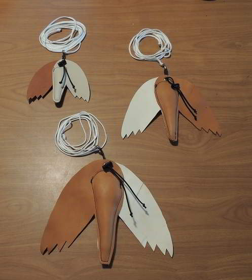 Leather padded falcon or hawk Lure, three sizes
