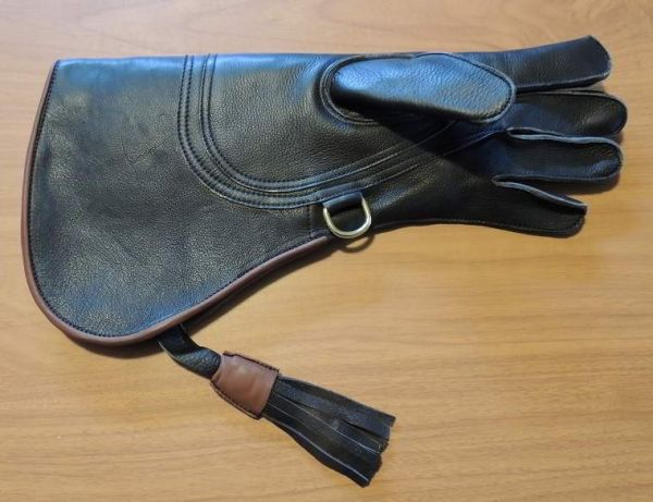 BLACK COWHIDE 15 INCH LONG FULL CUFF GLOVE THREE LAYERS. LEFT HAND