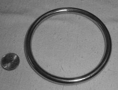 Solid stainless steel Perch Ring, 2 inch diameter.