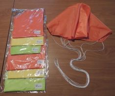 A SPARE PARACHUTES TWO SIZES AND THREE COLORS TO CHOOSE FROM