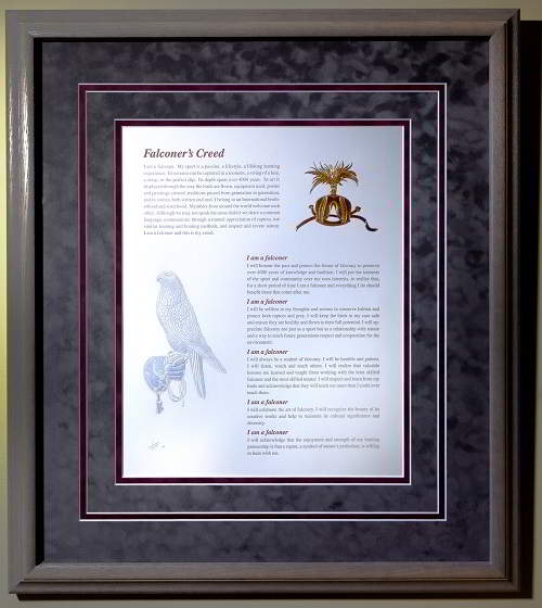 "The Falconer's Creed - collectible, limited-edition, archival artwork. Size is 20"" x 16.5""."