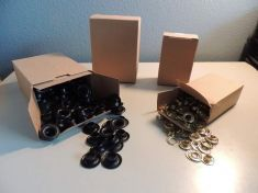 GROMMETS SOLD BY THE GROSS BOX 144 SETS PER BOX, BRASS OR BLACK
