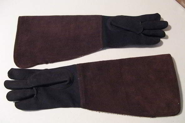 Arm Length Double thick cowhide raptor and animal handling gloves