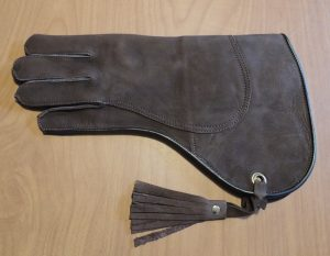 "Cow Hide Medium weight double thickness Gauntlet short cuff 14"" long left hand glove"