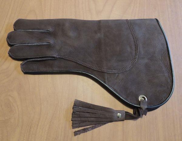 "Cow Hide Medium weight double thickness Gauntlet short cuff 14"" long left hand glove"
