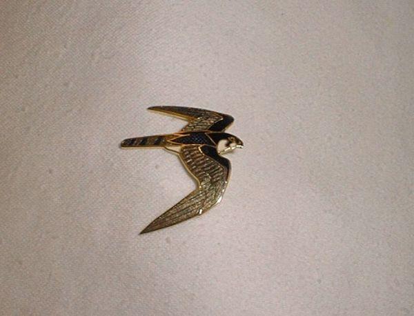 Enameled Raptor Pins, Peregrine Falcon.