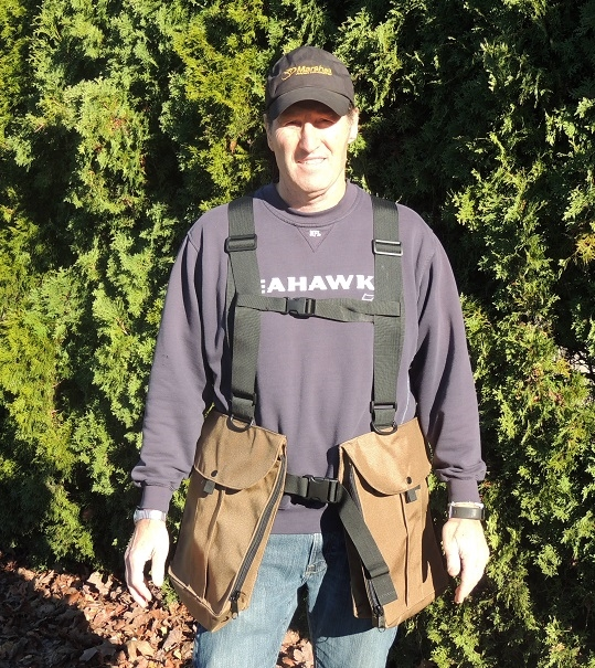 A - CASCADE GAME HAWKING  VEST, COLOR BROWN , NOW COMES WITH CHEST STRAPS.
