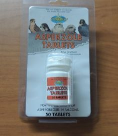 ASPERZOLE TABLETS for the treatment of Aspergillosis in falcons or hawks.