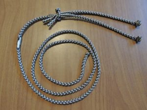A - EIGHT STRAND BARREL SWIVEL LEASH SETUP WITH JESSES AND EXTENDER  COMES IN THREE SIZES