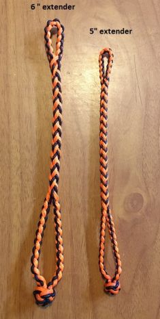 NEW EIGHT STRAND ROUND BRAIDED JESS EXTENDERS IN THREE SIZES, COLOR IS BLACK AND ORANGE.