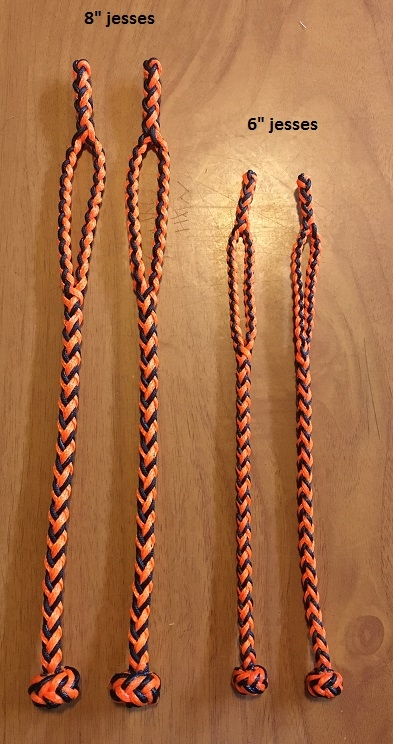 A - NEW EIGHT STRAND ROUND BRAIDED JESSES IN THREE SIZES, COLOR IS BLACK AND ORANGE